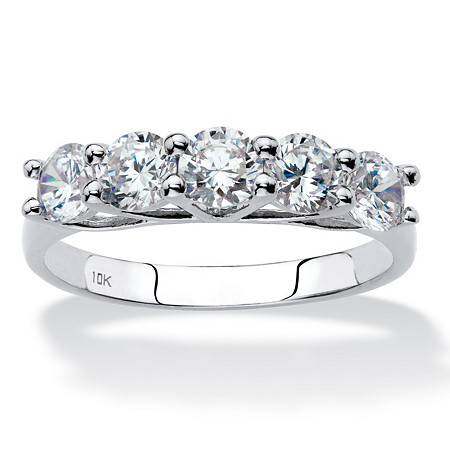 Round Cubic Zirconia Single Row Ring 1.25 TCW in Solid 10k White Gold at PalmBeach Jewelry