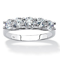 Round Cubic Zirconia Single Row Ring 1.25 TCW in Solid 10k White Gold