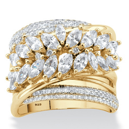 Marquise-Cut Cubic Zirconia Diagonal Highway Ring 4.18 TCW in 14k Gold over Sterling Silver at PalmBeach Jewelry