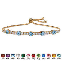 Round Birthstone and Cubic Zirconia Adjustable Bolo Drawstring Bracelet 1.60 TCW 14k Gold-Plated 10""