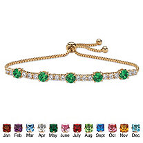 Round Simulated Birthstone and Cubic Zirconia Adjustable Bolo Drawstring Bracelet 1.60 TCW 14k Gold-Plated 10""