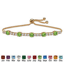 """Round Birthstone and Cubic Zirconia Adjustable Bolo Drawstring Bracelet 1.60 TCW 14k Gold-Plated 10"""""""
