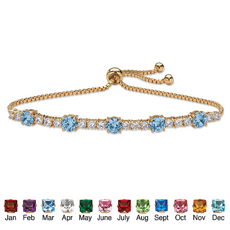 "Round Simulated Birthstone and Cubic Zirconia Adjustable Bolo Drawstring Bracelet 1.60 TCW 14k Gold-Plated 10"" at PalmBeach Jewelry"