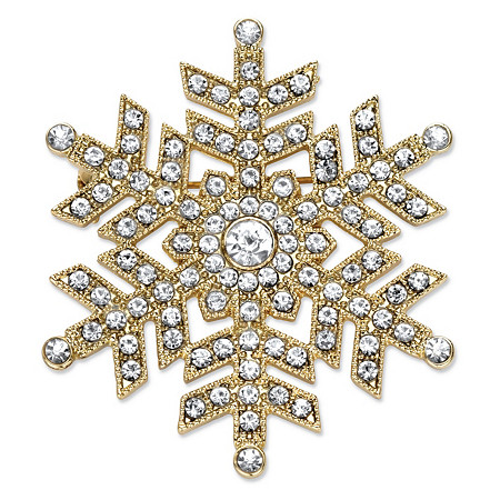 """Round Crystal Holiday Snowflake Pin in Gold Tone 1.75"""" at PalmBeach Jewelry"""