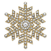 Round Crystal Holiday Snowflake Pin in Gold Tone 1.75""