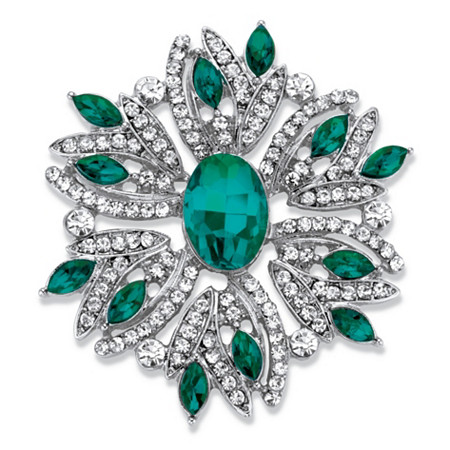 "Oval and Marquise-Cut Green and White Crystal Holiday Pin in Silvertone 1.75"" at PalmBeach Jewelry"