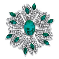 Oval And Marquise-Cut Green And White Crystal Holiday Pin In Silvertone ONLY $11.99