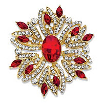 Oval and Marquise-Cut Red and White Crystal Holiday Pin in Gold Tone 1.75""