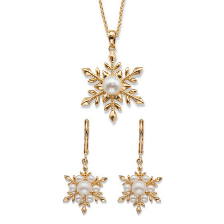 Simulated Pearl 2-Piece Snowflake Earrings and Necklace Set 14k Gold-Plated 18