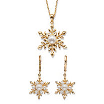 "Simulated Pearl 2-Piece Snowflake Earrings and Necklace Set 14k Gold-Plated 18""-20"""