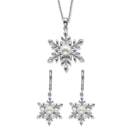 Simulated Pearl 2-Piece Snowflake Earrings and Pendant Necklace Set in Silvertone 18