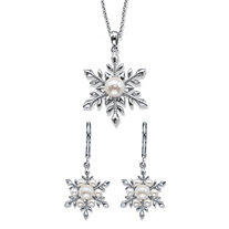 "Simulated Pearl 2-Piece Snowflake Earrings and Pendant Necklace Set in Silvertone 18""-20"""