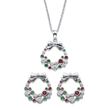 "Red and Green Cubic Zirconia and Crystal 2-Piece Holiday Wreath Earrings and Necklace Set .64 TCW in Silvertone 18""-20"" at PalmBeach Jewelry"