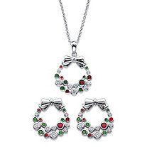 "Red and Green Cubic Zirconia and Crystal 2-Piece Holiday Wreath Earrings and Necklace Set .64 TCW in Silvertone 18""-20"""
