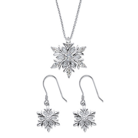 """Cubic Zirconia 2-Piece Holiday Snowflake Earrings and Necklace Set 2.42 TCW in Silvertone 18""""-20"""" at PalmBeach Jewelry"""
