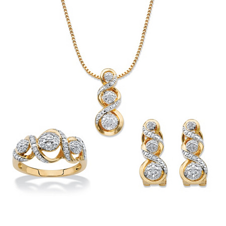 "Round Diamond Crossover Journey 3-Piece Earring, Ring and Necklace Set 1/4 TCW 14k Gold-Plated 18""-20"" at PalmBeach Jewelry"