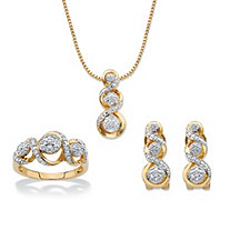 "Round Diamond Crossover Journey 3-Piece Earring, Ring and Necklace Set 1/4 TCW 14k Gold-Plated 18""-20"""