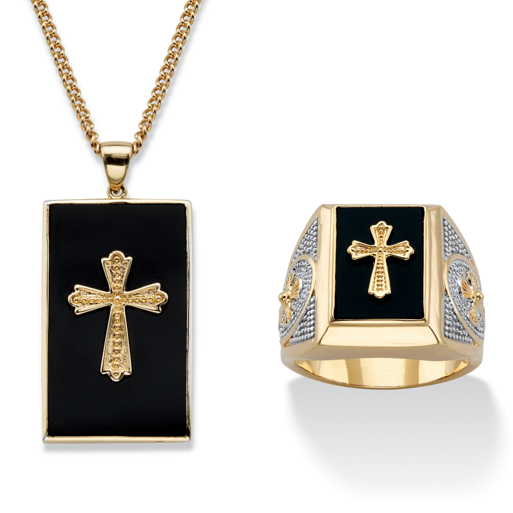 Men S Genuine Black Onyx Cabochon Cross 2 Piece Necklace