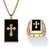 Men's Genuine Black Onyx Cabochon Cross 2-Piece Necklace and Ring Set 14k Gold-Plated 22""