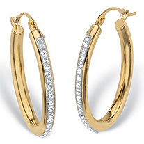 SETA JEWELRY Round Crystal 14k Nano Diamond Resin Filled Oval Hoop Earrings 1
