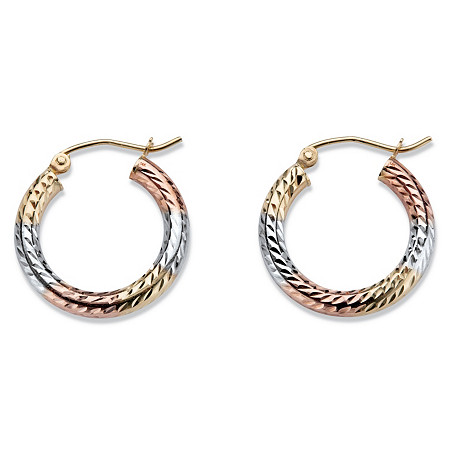 Diamond-Cut Twisted Tri-Tone Hoop Earrings in 14k White, Yellow and Rose Gold 3/4