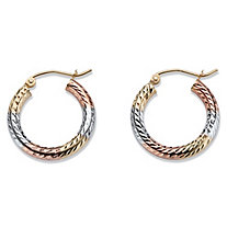 Diamond-Cut Twisted Tri-Tone Hoop Earrings in 14k White, Yellow and Rose Gold 3/4""