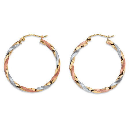 Diamond-Cut Twisted Tri-Tone Hoop Earrings in 14k White, Yellow and Rose Gold 11/8