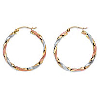 Diamond-Cut Twisted Tri-Tone Hoop Earrings in 14k White, Yellow and Rose Gold 11/8""