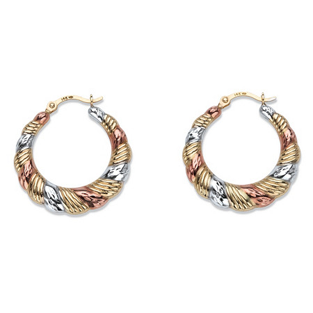 "Diamond-Cut Banded Tri-Tone Hoop Earrings in 14k White, Yellow and Rose Gold 7/8"" at PalmBeach Jewelry"
