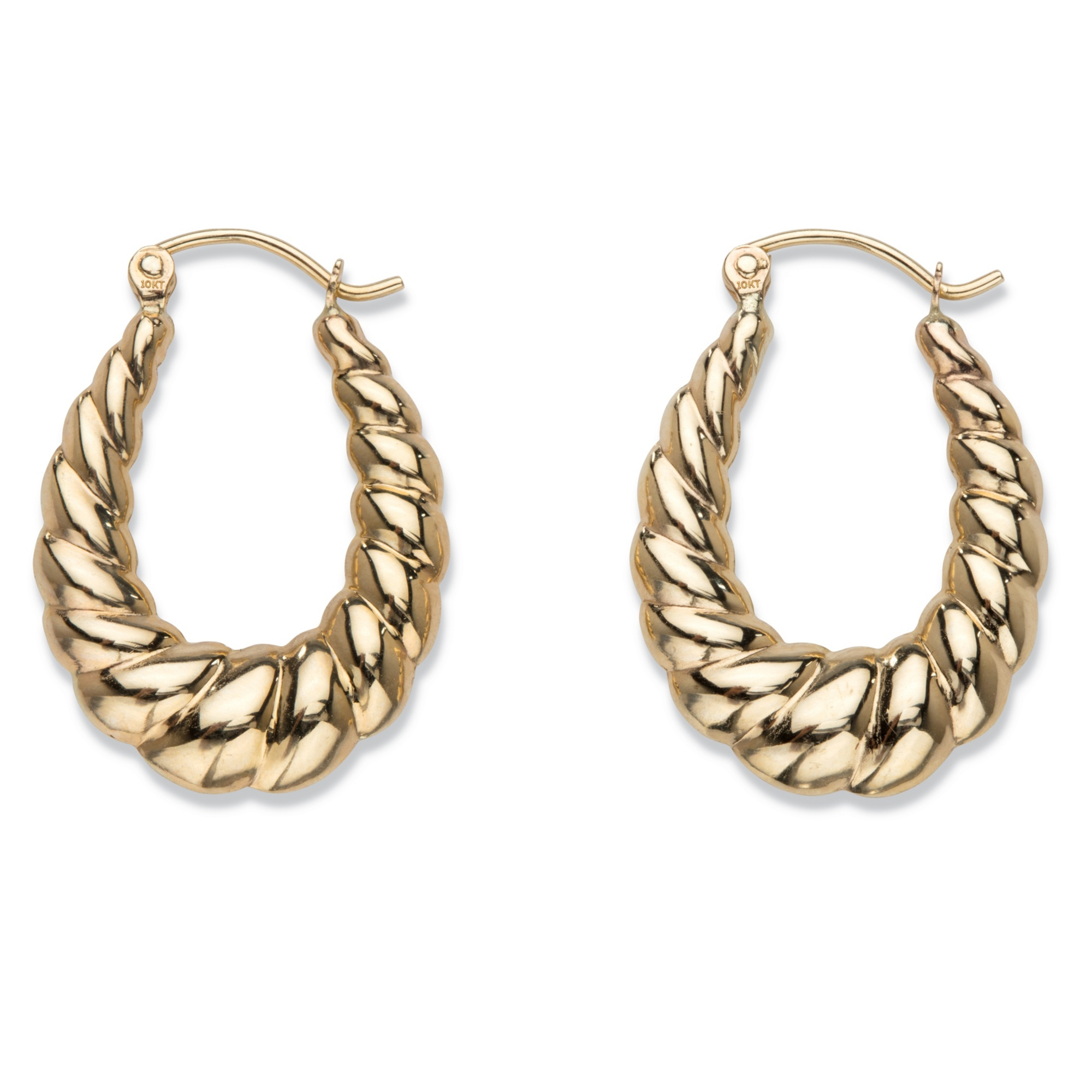 f08f0aab06bac Shrimp-Style Puffy Hoop Earrings in 10k Yellow Gold 1