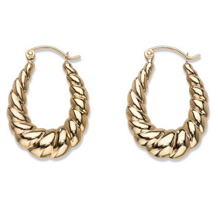 "Shrimp-Style Puffy Hoop Earrings in 10k Yellow Gold 1"" at PalmBeach Jewelry"