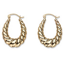 Shrimp-Style Puffy Hoop Earrings in 10k Yellow Gold 1""