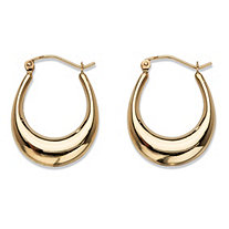 Polished Puffy Oval Hoop Earrings in 10k Yellow Gold 1""