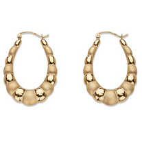 Polished and Matte Shrimp-Style Puffy Oval Hoop Earrings in 10k Yellow Gold 1 1/3""