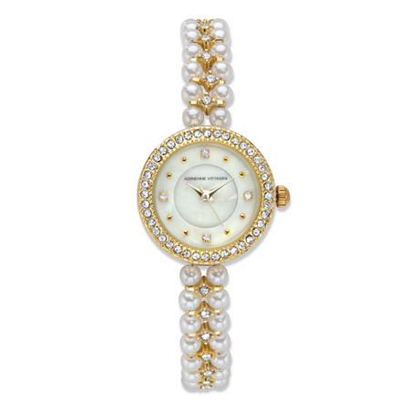 """Adrienne Vittadini Simulated Pearl and Crystal Fashion Bracelet Watch with Mother-of-Pearl Face in Gold Tone Stainless Steel 7.5"""" at PalmBeach Jewelry"""