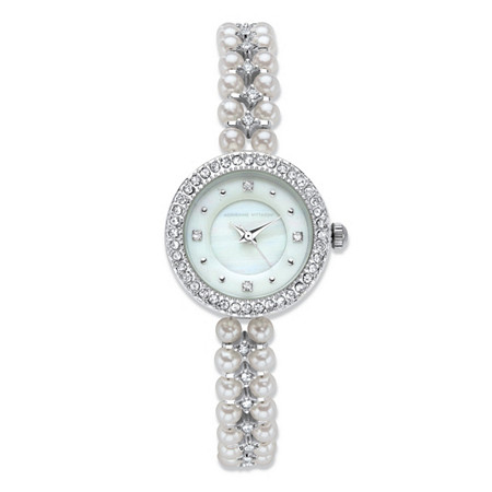 Adrienne Vittadini Simulated Pearl and Crystal Fashion Bracelet Watch with White Face in Silvertone Stainless Steel 7.5