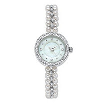 Adrienne Vittadini Simulated Pearl and Crystal Fashion Bracelet Watch with White Face in Silvertone Stainless Steel 7.5""