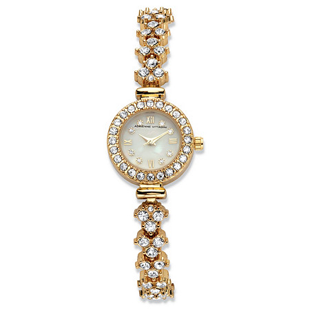Adrienne Vittadini Crystal Fashion Bracelet Watch with Mother-of-Pearl Face in Gold Tone Stainless Steel 7.5