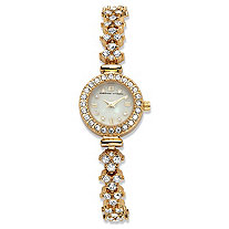 Adrienne Vittadini Crystal Fashion Bracelet Watch with Mother-of-Pearl Face in Gold Tone Stainless Steel 7.5""