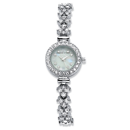 Adrienne Vittadini Crystal Fashion Bracelet Watch with Mother-of-Pearl Face in Silvertone 7.5 at PalmBeach Jewelry