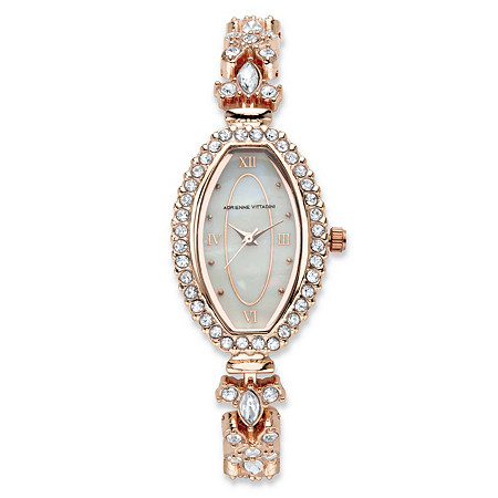 Adrienne Vittadini Crystal Fashion Watch With Mother-of-Pearl Face in Rose Gold Tone Stainless Steel 7.5