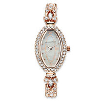 Adrienne Vittadini Crystal Fashion Watch With Mother-of-Pearl Face in Rose Gold Tone Stainless Steel 7.5""