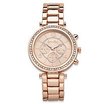 Round Crystal Multi-Dial Fashion Watch in Rose Gold Tone With Rose Tone Face 7.5
