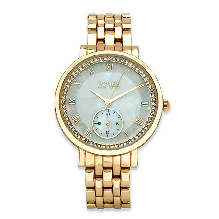 Jones New York Crystal Accent Fashion Watch Gold Tone with Mother-Of-Pearl Face 7.5