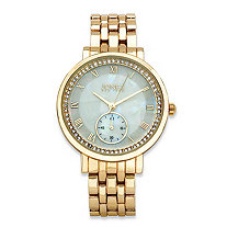 SETA JEWELRY Jones New York Crystal Accent Fashion Watch Gold Tone with Mother-Of-Pearl Face 7.5