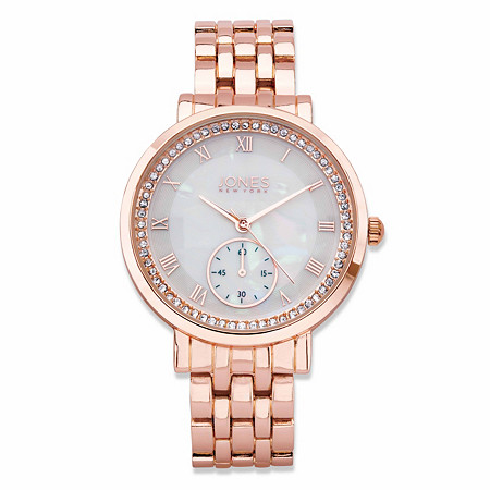 "Jones New York Crystal Accent Fashion Watch in Rose Gold Tone With Mother-of-Pearl Dial 7.5"" at PalmBeach Jewelry"