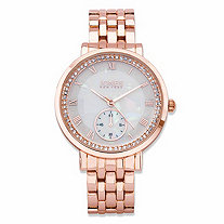 SETA JEWELRY Jones New York Crystal Accent Fashion Watch in Rose Gold Tone With Mother-of-Pearl Dial 7.5
