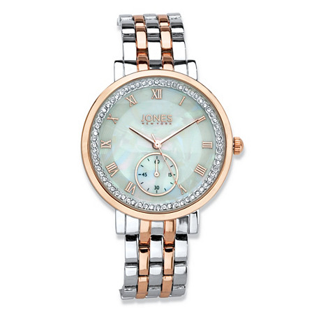 "Jones New York Crystal Two-Tone Silvertone and Rose Tone Fashion Watch in Silvertone and Rose Gold Tone With Mother-of-Pearl Dial 7.5"" at PalmBeach Jewelry"