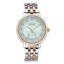 Jones New York Crystal Two-Tone Silvertone and Rose Tone Fashion Watch in Silvertone and Rose Gold Tone With Mother-of-Pearl Dial 7.5""