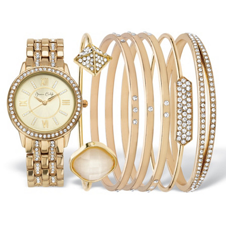 Crystal Fashion Watch and Bangle Bracelet 7-Piece Set in Cream Tone with Gold Face 7.5